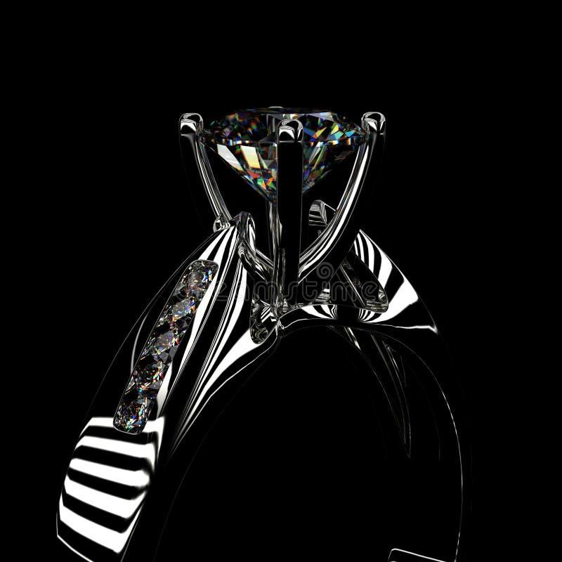 rendição 3d de um anel de diamante ilustração stock