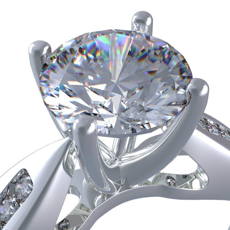 rendição 3d de um anel de diamante ilustração royalty free