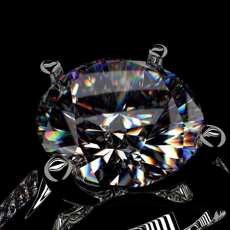rendição 3d de um anel de diamante no fundo preto ilustração do vetor