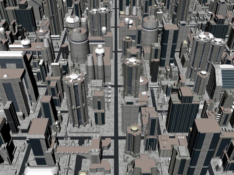 rendição 3D de uma cidade ilustração royalty free