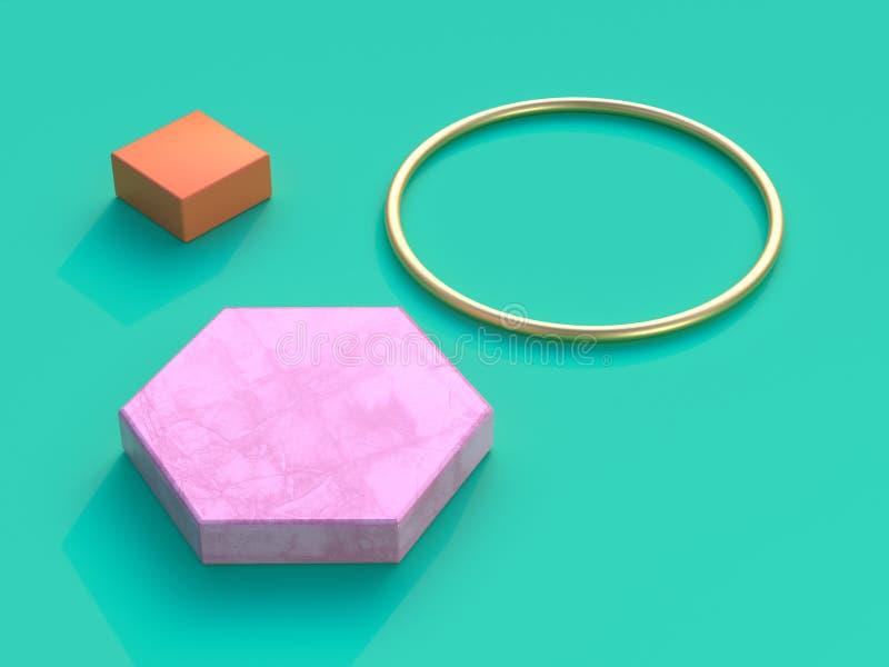 Rendição alaranjada do quadrado 3d do círculo cor-de-rosa verde à terra liso do ouro do hexágono do fundo ilustração stock