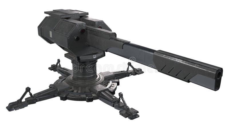 Rendição capaz da torreta 3d do scifi do transporte aéreo ilustração royalty free
