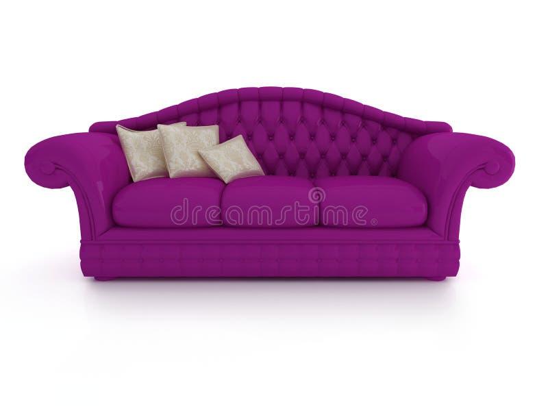 Rendição clássica do computador do sofá 3D na parte traseira do branco ilustração do vetor