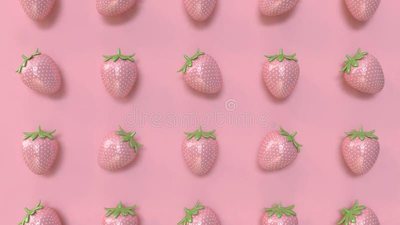 Rendição cor-de-rosa mínima do fundo 3d do teste padrão cor-de-rosa abstrato da morango ilustração do vetor