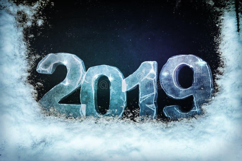 rendição 3d 'de 2019 'sinais do gelo cobertos na neve no fundo preto ilustração stock