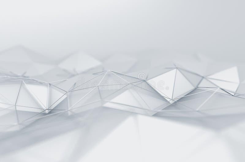 Rendição 3D abstrata da baixa superfície poli do branco foto de stock royalty free