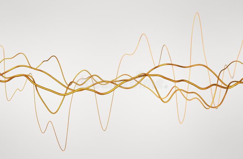 Rendição 3D abstrata de linhas onduladas lustrosas ilustração do vetor