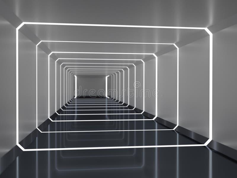 Rendição 3d abstrata do corredor da nave espacial fotografia de stock royalty free
