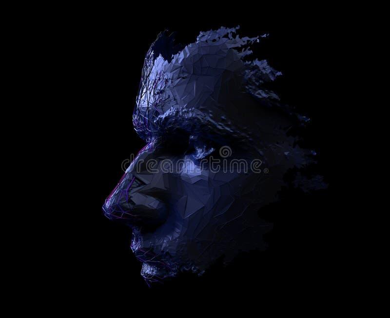 Rendição 3D abstrata do rosto humano poligonal ilustração stock