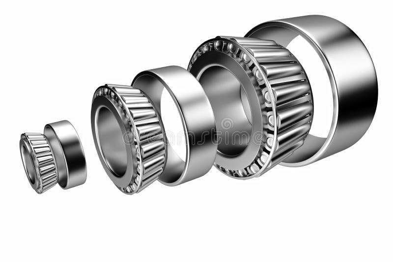 rendição 3d Auto peças sobresselentes dos rolamentos automotivos Rolamento de rolo afilado ilustração stock