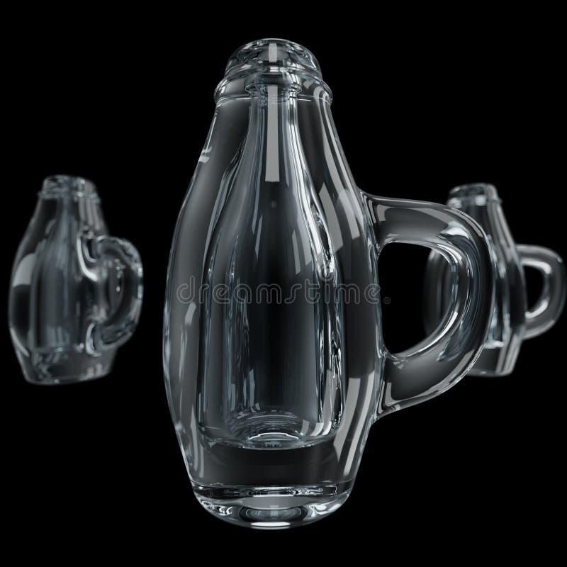 rendição 3d Caneca de cerveja dada forma garrafa de Champagne imagens de stock