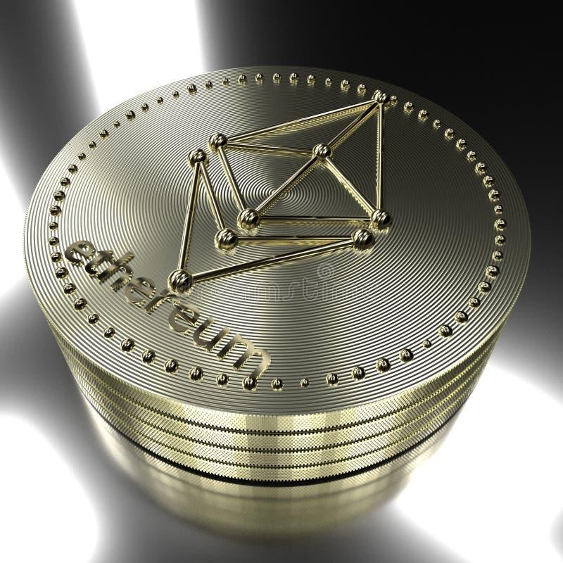 rendição 3d Conceito do cryptocurrency de Ethereum imagem de stock