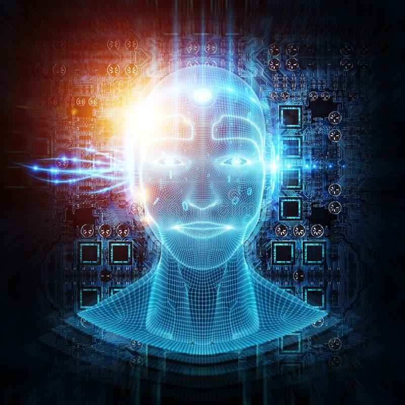 Rendição 3D da aprendizagem de inteligência artificial da cabeça do homem do cyborg do robô ilustração stock
