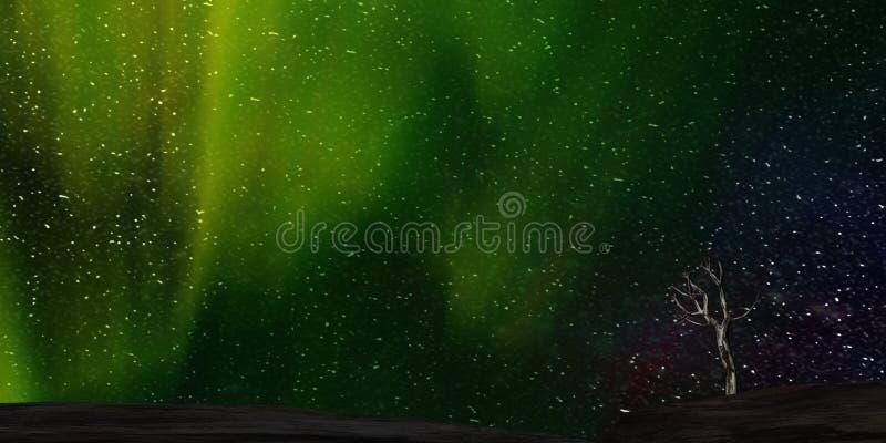 rendição 3d da Aurora agradável com começo claro atrás dele ilustração stock
