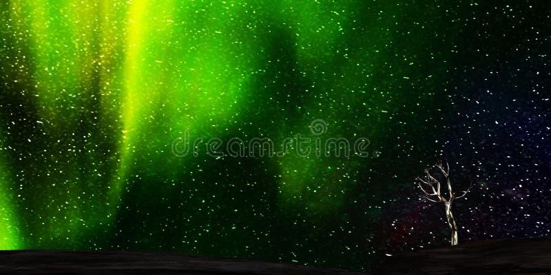 rendição 3d da Aurora agradável com começo claro atrás dele ilustração royalty free