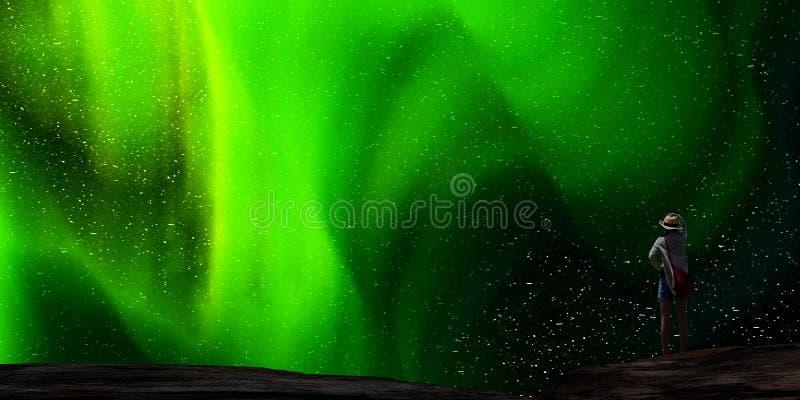rendição 3d da Aurora agradável com começo claro atrás dele imagem de stock