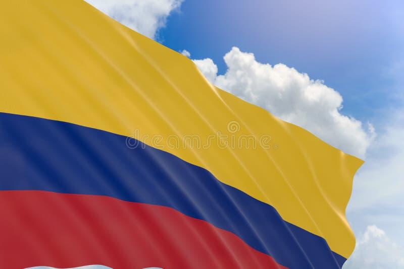 rendição 3D da bandeira de Colômbia que acena no fundo do céu azul ilustração stock