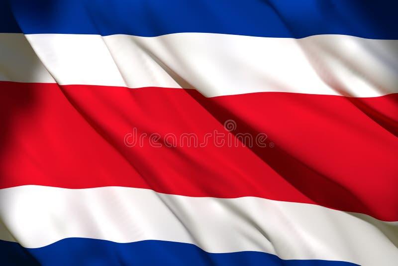 rendição 3d da bandeira de Costa Rica ilustração do vetor