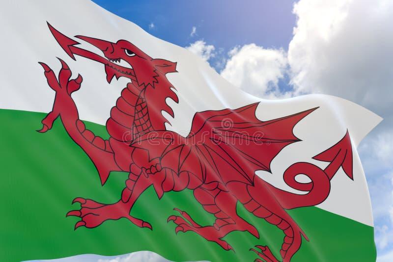 rendição 3D da bandeira de Gales que acena no fundo do céu azul ilustração stock