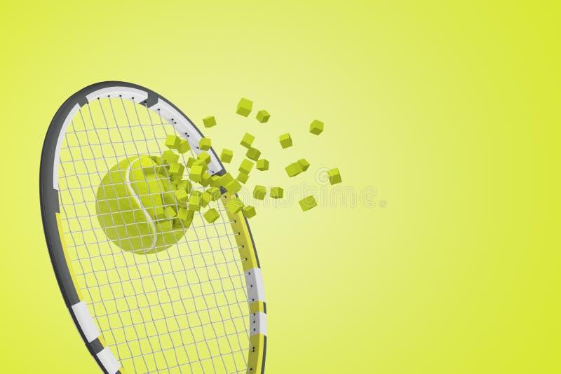 rendição 3d da bola de tênis que quebra através das cordas da raquete de tênis no fundo amarelo ilustração do vetor