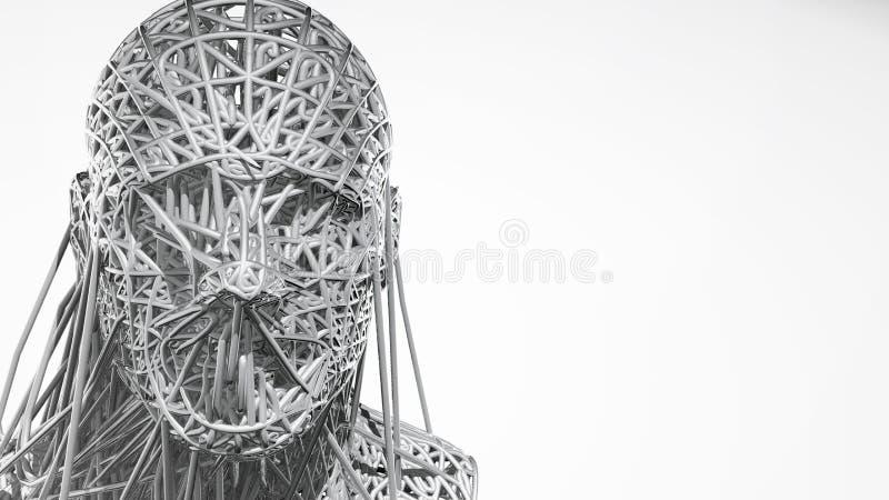 a rendição 3d da cara do cyborg no fundo branco representa a inteligência artificial Ciência futura, tecnologia moderna ilustração stock