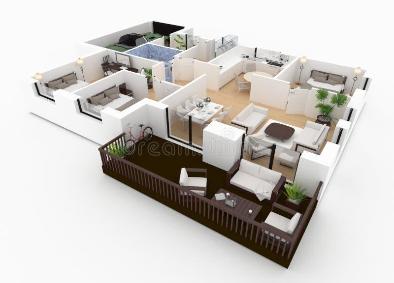 rendição 3d da casa fornecida ilustração royalty free