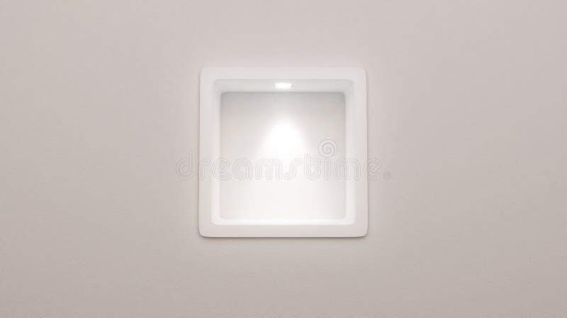rendição 3d da exposição arredondada vazia da prateleira da ameia na parede foto de stock