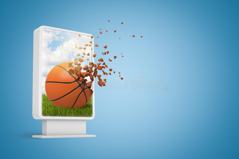 rendição 3d da exposição de informação digital que mostra o basquetebol que começa dissolver-se nas partículas no azul do inclina ilustração royalty free