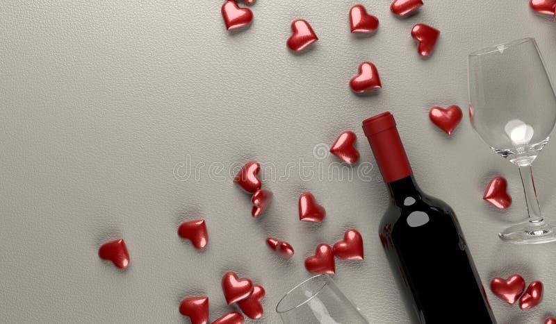 rendição 3D da garrafa de vinho tinto com caixa de presente aberta completamente de corações roxos ilustração do vetor