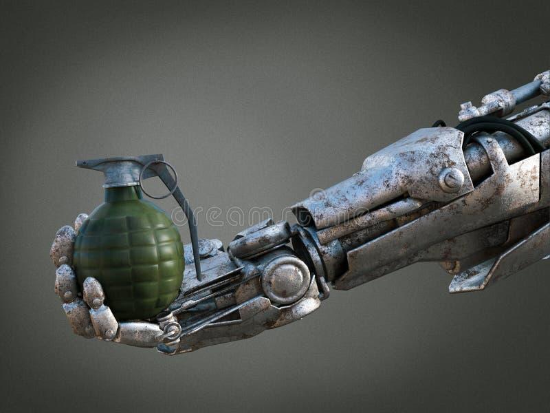 rendição 3D da granada da terra arrendada da mão do robô ilustração do vetor