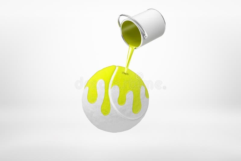 rendição 3d da lata da pintura que derrama a pintura amarela na bola de tênis luz-cinzenta no meio do ar no fundo branco ilustração do vetor