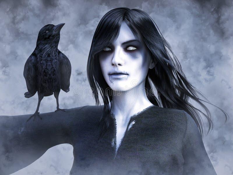 rendição 3D da mulher do fantasma com o corvo em seu braço ilustração royalty free