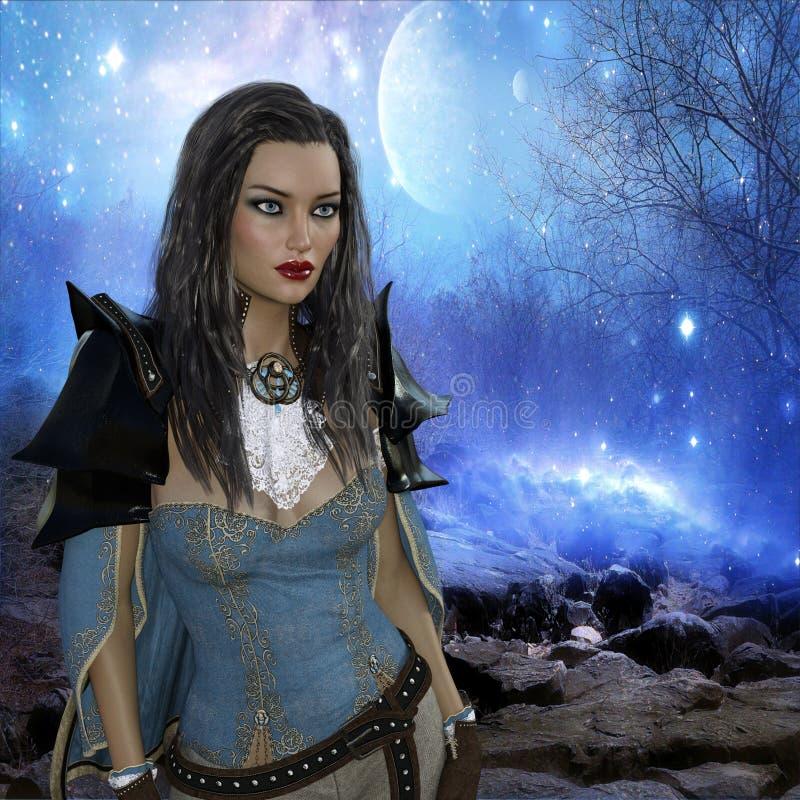 rendição 3D da mulher no fundo da fantasia ilustração do vetor