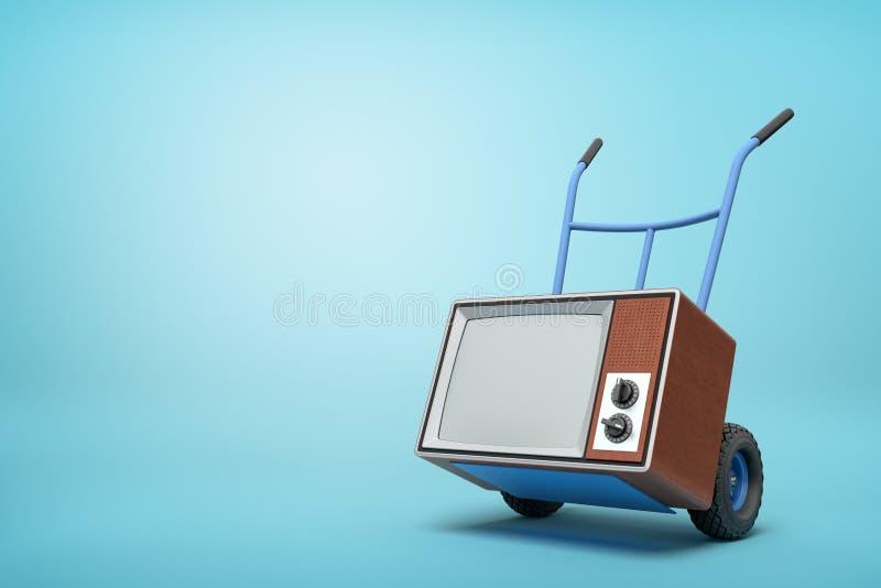 rendição 3d da posição azul do caminhão de mão na metade-volta com aparelho de televisão retro marrom nele no fundo luz-azul com  ilustração stock