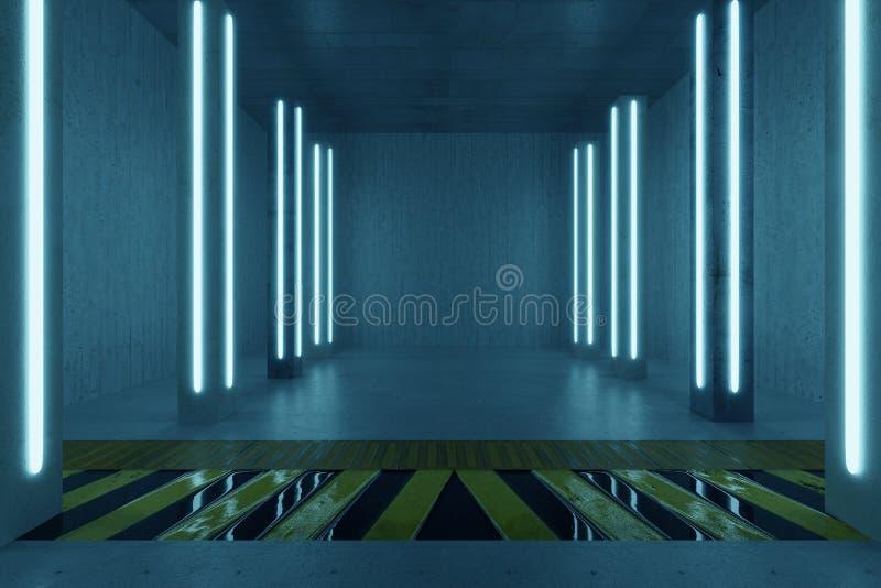 rendição 3d da sala concreta com colunas e os painéis claros azuis foto de stock