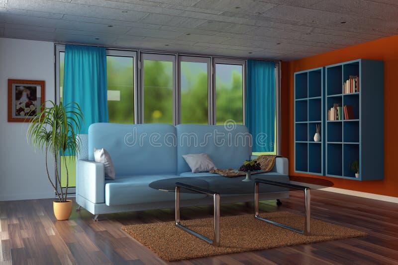 rendição 3d da sala de visitas moderna com paredes alaranjadas e cu azul ilustração stock
