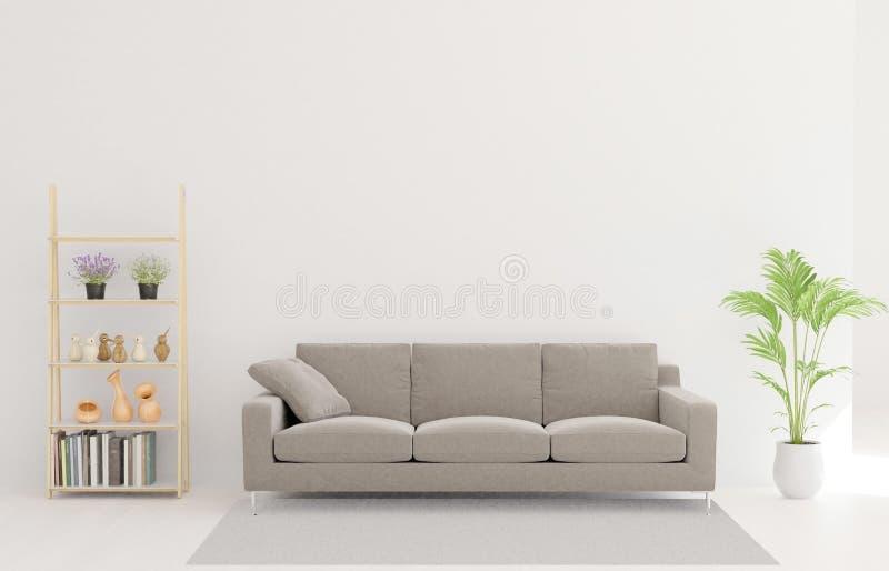 rendição 3d da sala de visitas, sofá, árvore, tapete ilustração do vetor