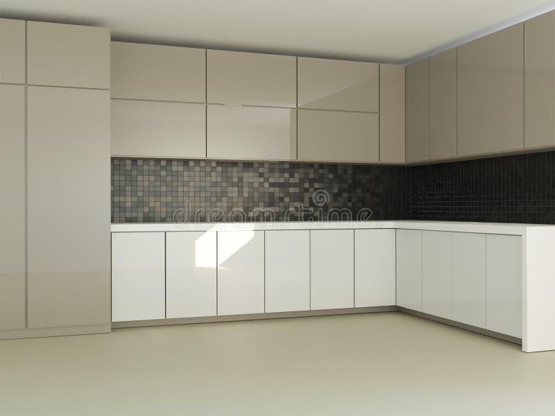 rendição 3d da sala interior da ideia minimalistic nova da cozinha ilustração royalty free