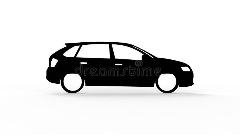 rendição 3d da silhueta de um carro isolado no fundo branco ilustração stock