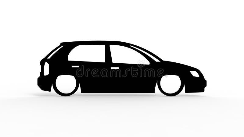rendição 3d da silhueta de um carro isolado no fundo branco ilustração royalty free