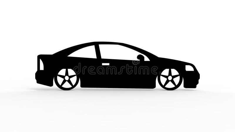 rendição 3d da silhueta de um carro isolado no fundo branco ilustração do vetor