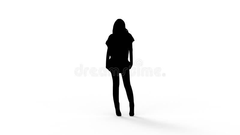 rendição 3d da silhueta de uma pessoa isolada no fundo branco ilustração stock