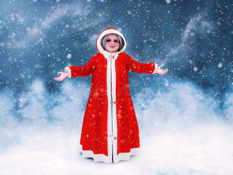 rendição 3D da Sra. Posição de Claus no wheater nevado ilustração stock