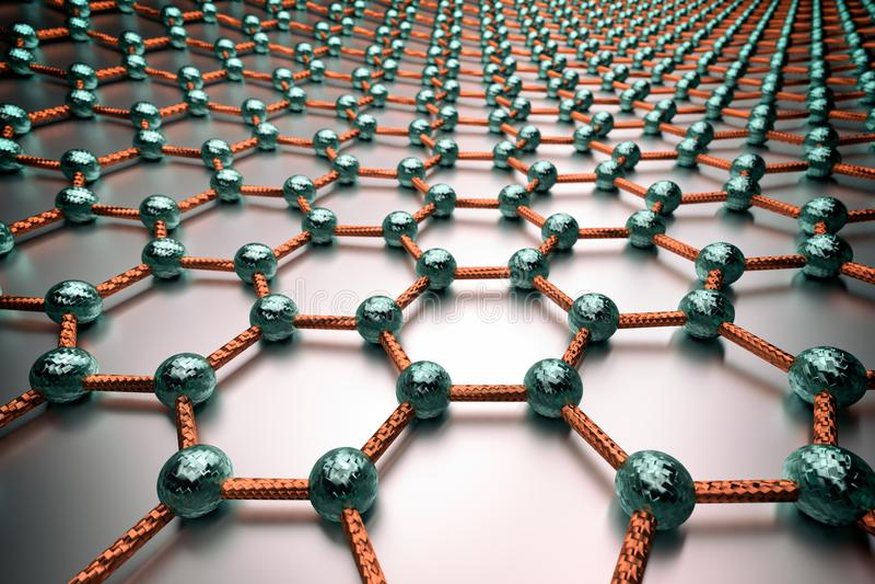 rendição 3D da superfície do graphene, de átomos azuis e de ligações alaranjadas ilustração do vetor