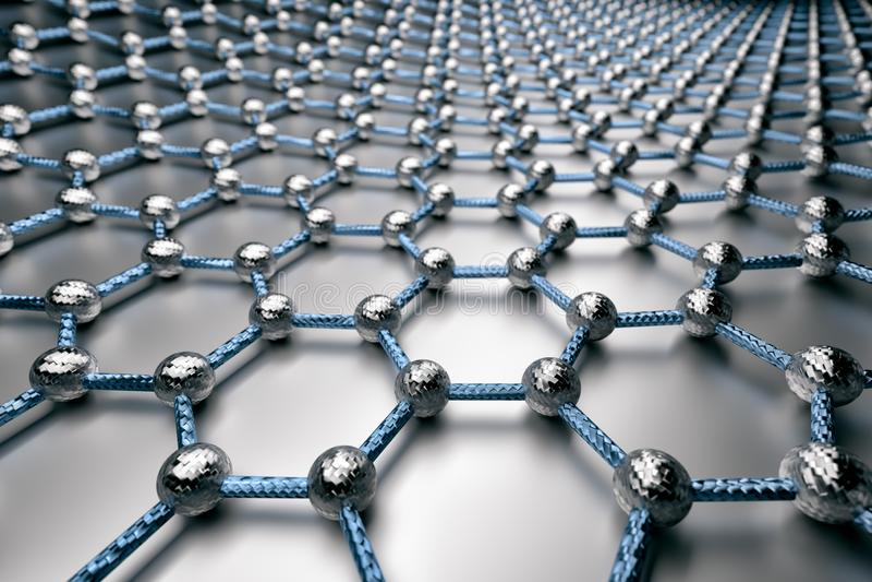 rendição 3D da superfície do graphene, de átomos cinzentos e de ligações azuis com estrutura do carbono ilustração do vetor