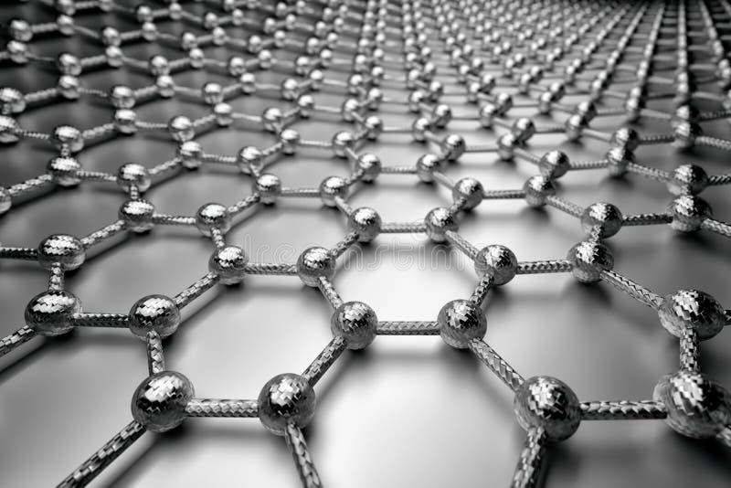 rendição 3D da superfície do graphene, de átomos cinzentos e de ligações com estrutura do carbono ilustração stock