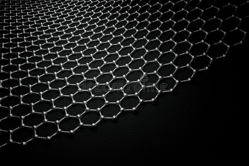 rendição 3D da superfície do graphene, de átomos cinzentos e de ligações com estrutura do carbono ilustração do vetor