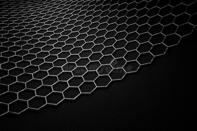 rendição 3D da superfície do graphene, ligações cinzentas com estrutura do carbono ilustração royalty free