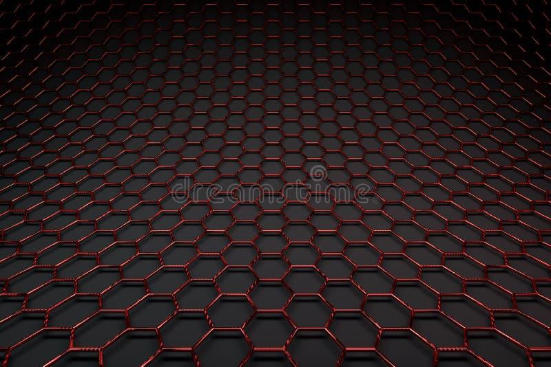 rendição 3D da superfície do graphene, ligações vermelhas lustrosas ilustração stock