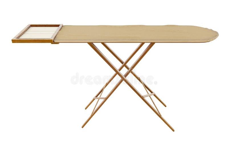 rendição 3d da tábua de passar a ferro de madeira do vintage velho isolada no fundo branco com trajetos de grampeamento ilustração stock